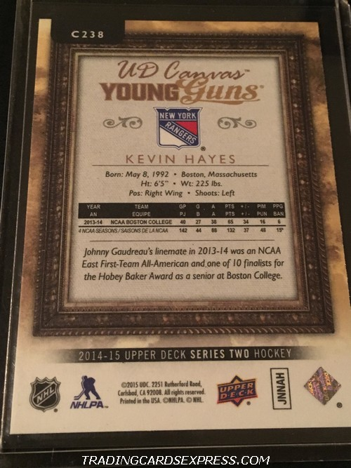 Kevin Hayes Rangers 2014 2015 Upper Deck Young Guns Canvas Rookie Card C238 Back
