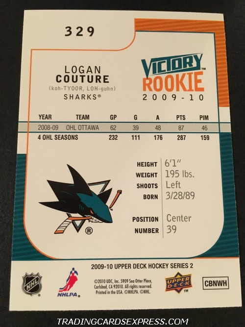 Logan Couture Sharks 2009 2010 Upper Deck Victory Rookie Card 329 Back