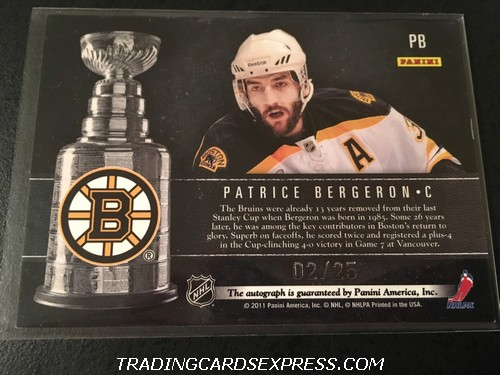 Patrice Bergeron Bruins 2011 2012 Panini Limited Expo Exclusive Autograph Card PB 02 25 Back