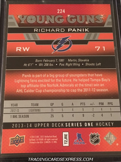 Richard Panik Lightning 2013 2014 Upper Deck Young Guns Rookie Card 224 Front