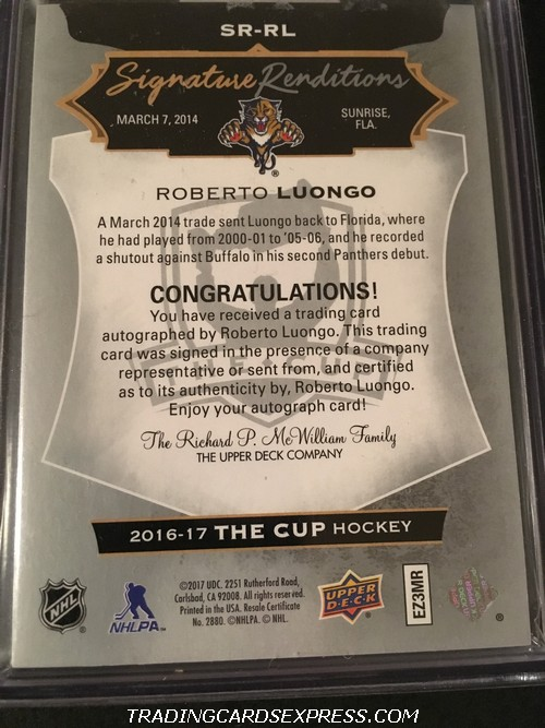 Roberto Luongo Panthers 2016 2017 Upper Deck The Cup Signature Renditions Autograph Card SRRL Back