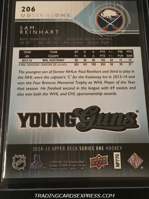 Sam Reinhart Sabres 2014 2015 Upper Deck Young Guns Rookie Card 206 Back