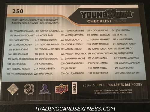Sam Reinhart Sabres Aaron Ekblad Panthers Leon Draisaitl Oilers 2014 2015 Upper Deck Young Guns Checklist Rookie Card 250 Back