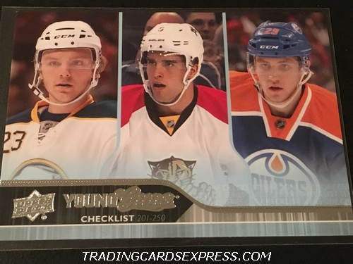 Sam Reinhart Sabres Aaron Ekblad Panthers Leon Draisaitl Oilers 2014 2015 Upper Deck Young Guns Checklist Rookie Card 250 Front