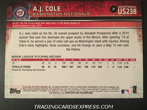 A.J. Cole Nationals 2015 Topps Rookie Card US238 Back