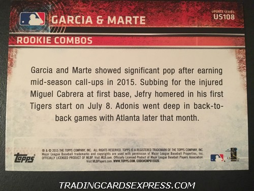 Adonis Garcia Braves Jefry Marte Tigers 2015 Topps Rookie Combos Rookie Card US108 Back