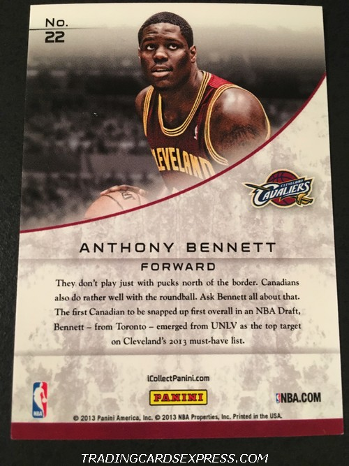 Anthony Bennett Cavaliers 2013 Panini Expo Rookie Card 22 185 399 Back