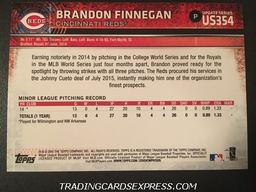 Brandon Finnegan Reds 2015 Topps Rookie Card US354 Back
