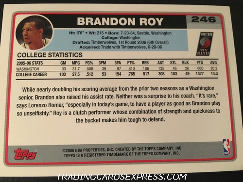 Brandon Roy Trail Blazers 2006 2007 Topps Rookie Card 246 Back