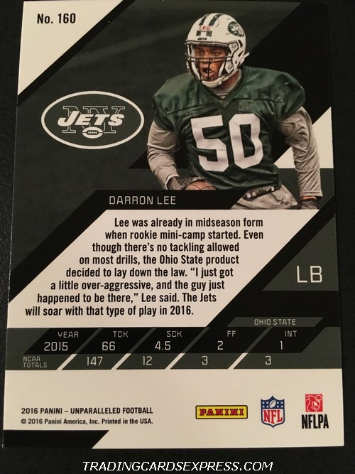 Darron Lee Jets 2016 Panini Unparalleled Rookie Card 160 Back