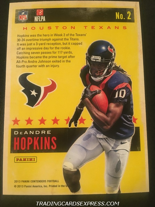 DeAndre Hopkins Texans 2013 Panini Contenders Rookie Of The Year Rookie Card 2 Back