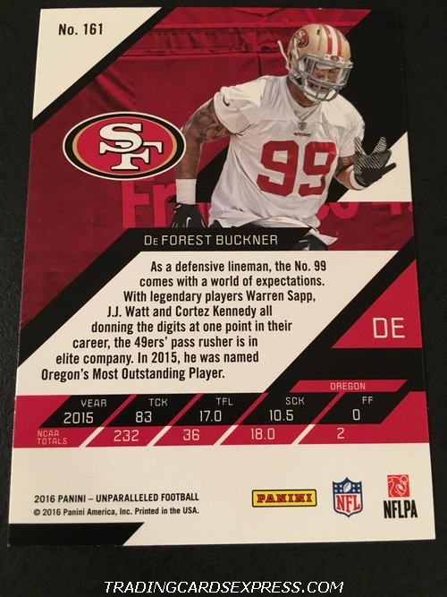 DeForest Buckner 49ers 2016 Panini Unparalleled Rookie Card 161 Back