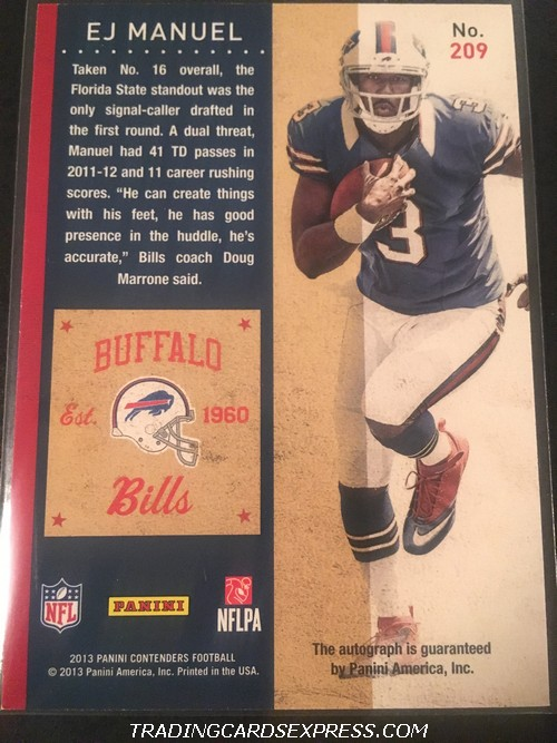 EJ Manuel Bills 2013 Panini Contenders Autograph Rookie Card 209 Back