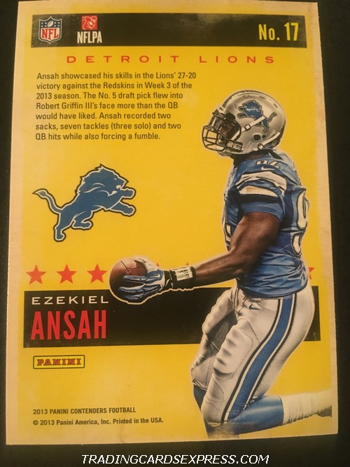 Ezekiel Ansah Lions 2013 Panini Contenders Rookie Of The Year Rookie Card 17 Back