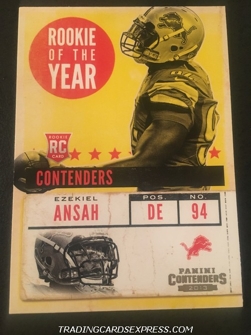 Ezekiel Ansah Lions 2013 Panini Contenders Rookie Of The Year Rookie Card 17 Front