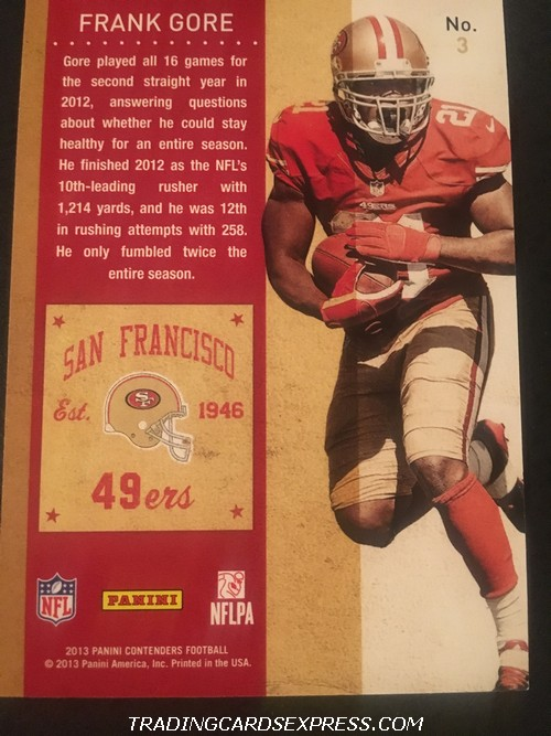 Frank Gore 49ers 2013 Panini Contenders Playoff 3 67 99 Back