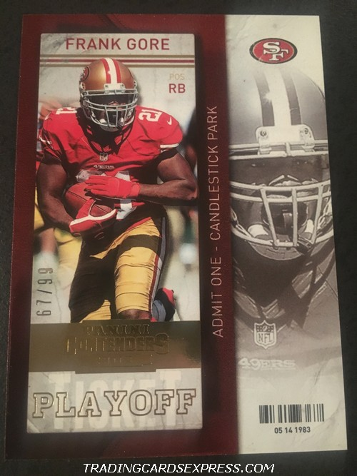Frank Gore 49ers 2013 Panini Contenders Playoff 3 67 99 Front
