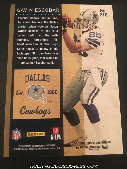 Gavin Escobar Cowboys 2013 Panini Contenders Playoff Autograph Rookie Card 210 49 99 Back