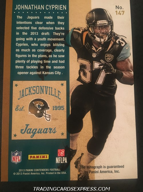 Johnathan Cyprien Jaguars 2013 Panini Contenders Playoff Autograph Rookie Card 147 41 99 Back