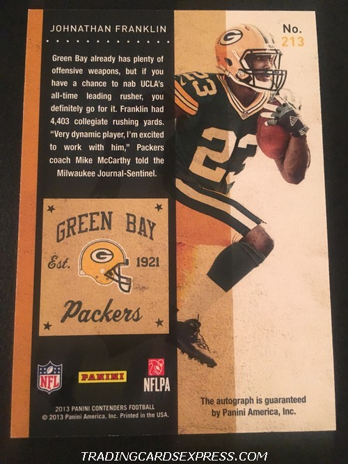 Johnathan Franklin Packers 2013 Panini Contenders Autograph Rookie Card 213 Back