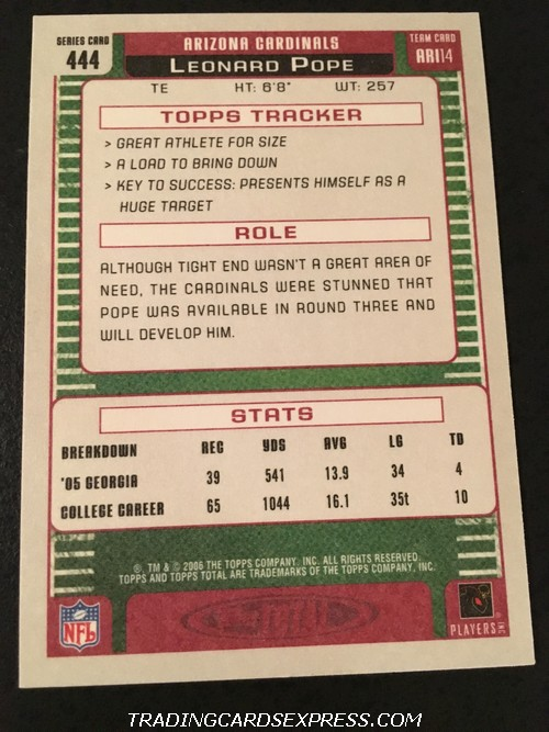 Leonard Pope Cardinals 2006 Topps Total Rookie Card 444 Back