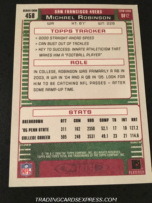 Michael Robinson 49ers 2006 Topps Total Rookie Card 458 Back