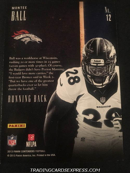 Montee Ball Broncos 2013 Panini Contenders Draft Class Rookie Card 12 Back
