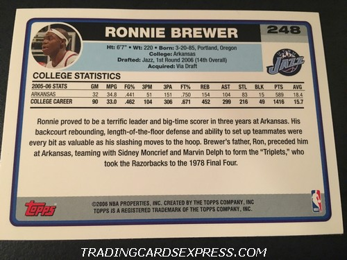 Ronnie Brewer Jazz 2006 2007 Topps Rookie Card 248 Back
