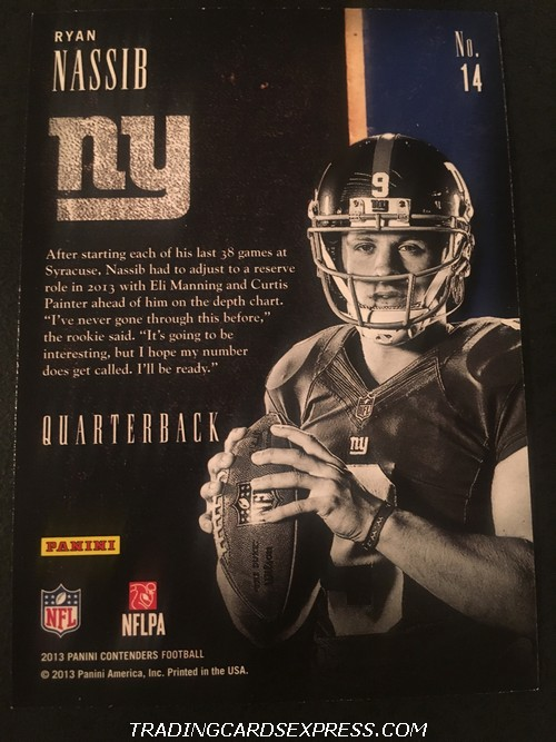 Ryan Nassib Giants 2013 Panini Contenders Draft Class Rookie Card 14 Back