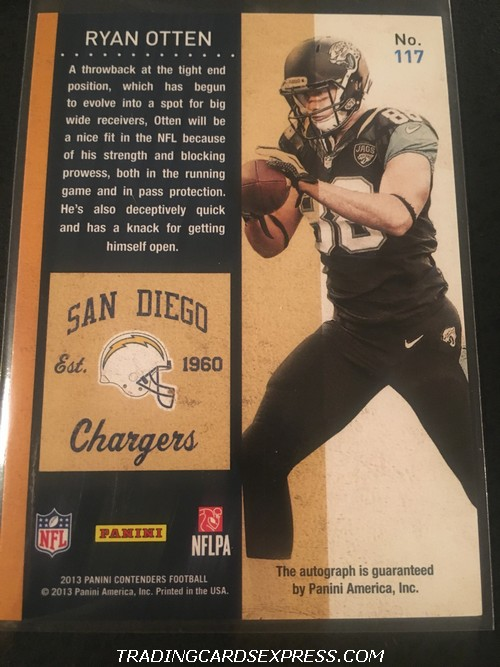 Ryan Otten Chargers 2013 Panini Contenders Autograph Rookie Card 117 Back