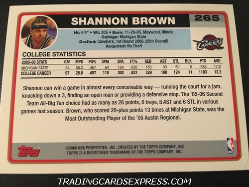 Shannon Brown Cavaliers 2006 2007 Topps Rookie Card 265 Back
