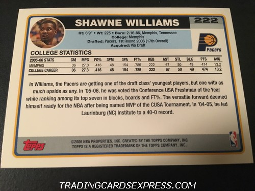 Shawne Williams Pacers 2006 2007 Topps Rookie Card 222 Back