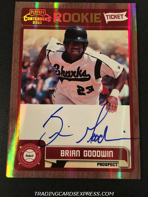 Brian Goodwin Nationals 2011 Panini Playoff Contenders Rookie Ticket Autograph Card RT36 Front