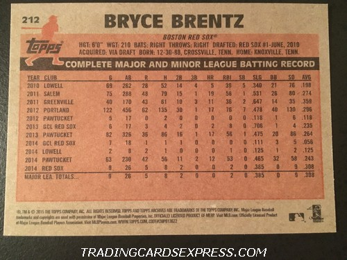 Bryce Brentz Red Sox 2015 Topps Archives Rookie Card 212 Back