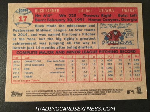Buck Farmer Tigers 2015 Topps Archives Rookie Card 17 Back