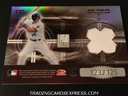 Carlos Delgado Blue Jays Josh Phelps Blue Jays 2003 Donruss Elite Back To The Future Jersey Card BF15 123 125 Back