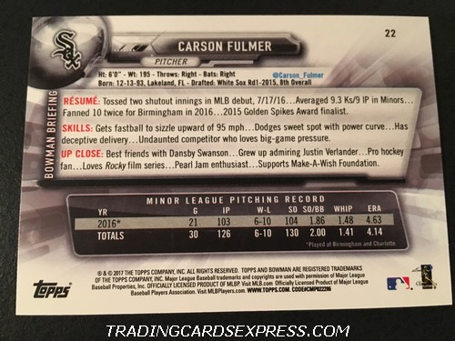 Carson Fulmer White Sox 2017 Bowman Rookie Card 22 Back