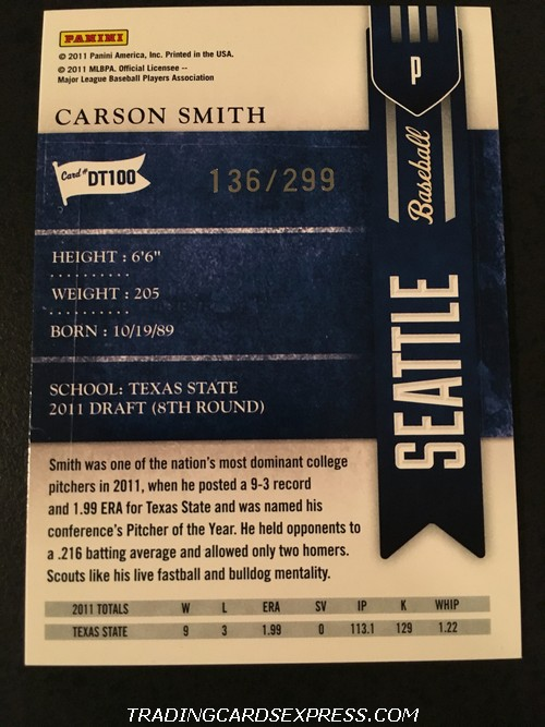 Carson Smith Mariners 2011 Panini Playoff Contenders Draft Ticket DT100 136 299 Back