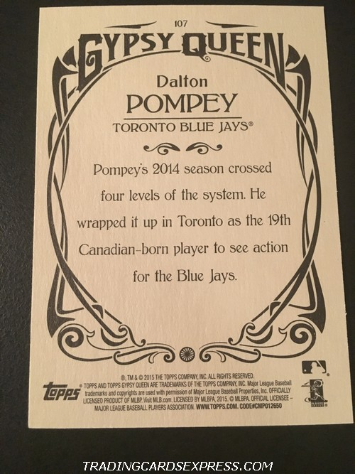 Dalton Pompey Blue Jays 2015 Topps Gypsy Queen Rookie Card 107 Back
