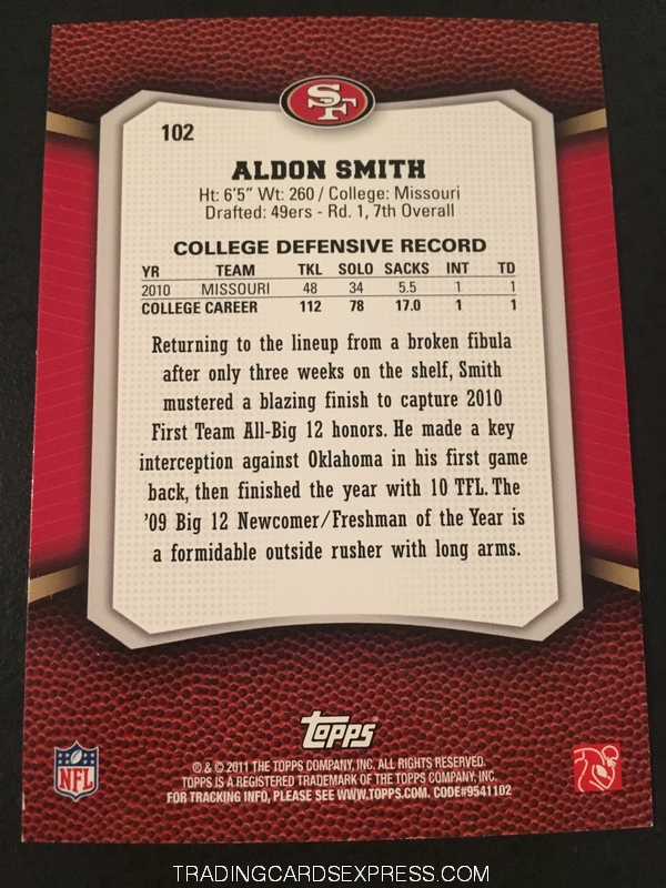 Aldon Smith 49ers 2011 Topps Rising Rookies Rookie Card 102 Back