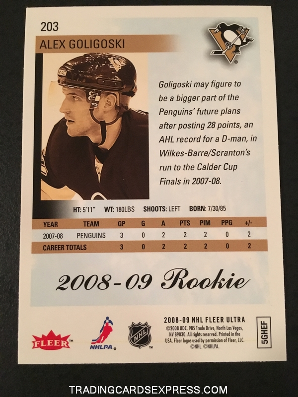 Alex Goligoski Penguins 2008 2009 Fleer Ultra Gold Medallion Rookie Card 203 Back