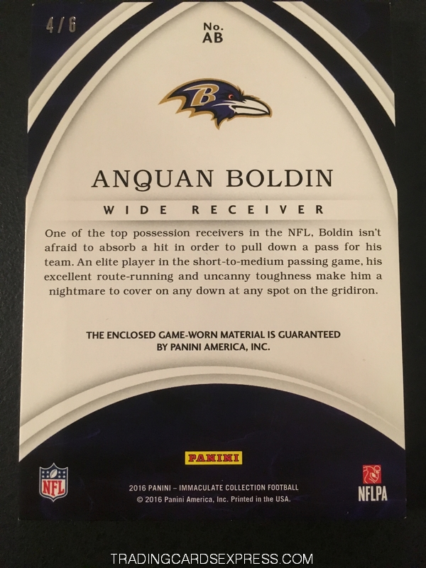 Anquan Boldin Ravens 2016 Panini Immaculate Collection Nameplate Nobility AB 4 6 Back
