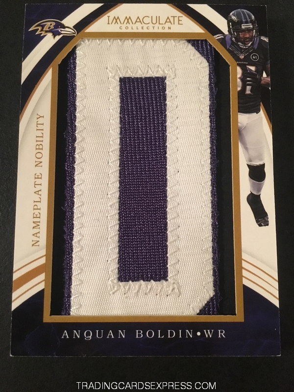 Anquan Boldin Ravens 2016 Panini Immaculate Collection Nameplate Nobility AB 4 6 Front
