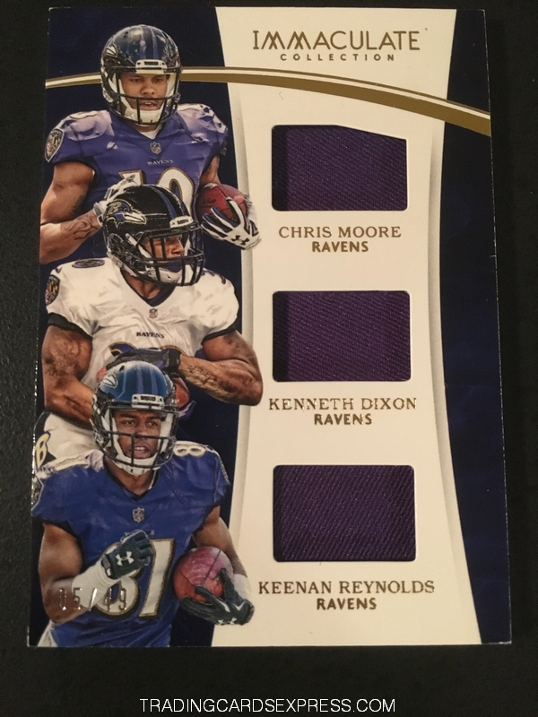 Chris Moore Ravens Kenneth Dixon Ravens Keenan Reynolds Ravens 2016 Panini Immaculate Collection Triple Jersey Card MDR 05 49 Front