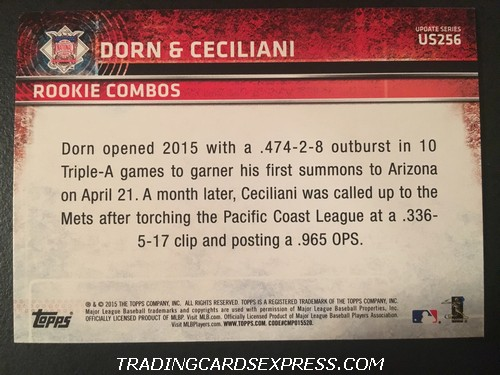 Danny Dorn Diamondbacks Darrell Ceciliani Mets 2015 Topps Rookie Combos Rookie Card US256 Back