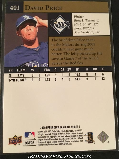 David Price Rays 2009 Upper Deck Rookie Card 401 Back