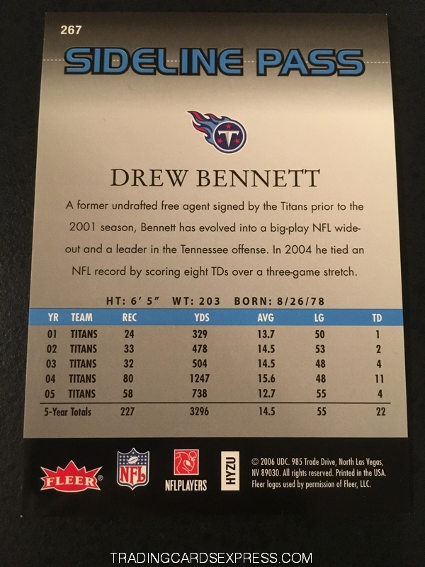 Drew Bennett Titans 2006 Fleer Flair Showcase Sideline Pass 267 305 999 Back