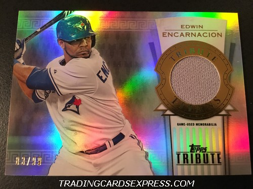 Edwin Encarnacion Blue Jays 2014 Topps Tribute Titans Relic Jersey Card TTREE 83 99 Front
