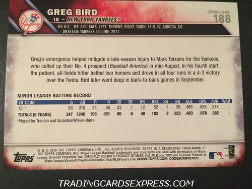 Greg Bird Yankees 2016 Topps Rookie Card 188 Back
