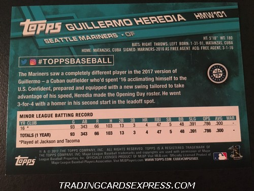 Guillermo Heredia Mariners 2017 Topps Walmart Holiday Rookie Card HMW101 Back